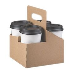 This cup drink carrier is made using recycled paper and folds flat for easy storage. Food Box Packaging, Food Packaging Design, Beverage Packaging, Coffee Packaging, Coffee To Go, Coffee Cups, Coffee Shop Supplies, Coffee Holder, Coffee Business