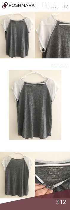 American eagle casual tee - Size M. - I do not trade.  - I ship everyday except for Sunday or holidays.  - Thanks for checking out my closet! Happy poshing. 💜 American Eagle Outfitters Tops Tees - Short Sleeve