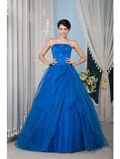 Gorgeous Ball Gown Strapless Floor-length Satin and Tulle Beading Prom Dress SBG0102-Y