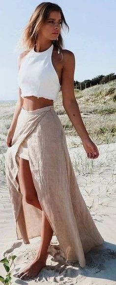 #summer #mishkahboutique #outfits | White Crop + Sand Maxi Skirt