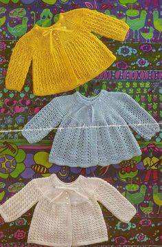 Knit Baby Matinee Jackets Vintage Knitting Pattern 19-20 inch chest Cardigan tunic dress lacey pinafore jumper PDF Instant Download