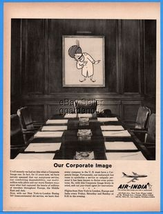 1960 Air India Airline Our Corporate Image Maharajah Boeing 707 jet Office Ad