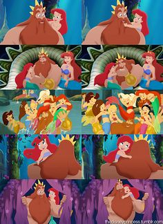 The Young Little Mermaid's Family. Father- King Triton, Mother- Queen Athena, & their 7 Daughters- Aquata (brown hair, blue tail), Andrina (blonde hair, purplish tail), Arista (blonde hair, red tail), Attina (brown hair, orange tail), Adella (black hair, golden tail), Alana (black hair, pink tail) and Ariel (red hair, green tail).