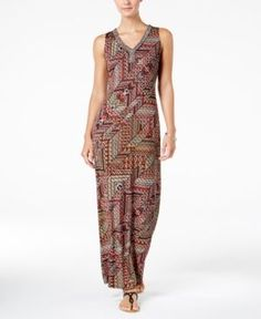 Ny Collection Petite Embellished Printed Maxi Dress - Red P/M