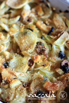 Bolli bolli pentolino: Baccalà gratinato con patate e cipolle Fusilli, Fish And Chips, Fish Recipes, Food For Thought, Italian Recipes, Love Food, Holiday Recipes, Potato Salad, Cauliflower