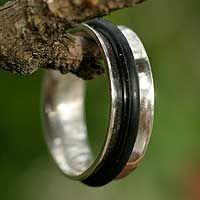 Men's sterling silver ring, 'Around' - Men's sterling silver ring