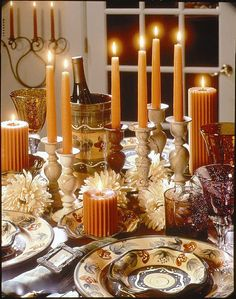 Fall table setting - Candles are a must! Thanksgiving Table Settings, Thanksgiving Tablescapes, Thanksgiving Decorations, Holiday Decor, Harvest Decorations, Holiday Tablescape, Thanksgiving Pictures, Thanksgiving Blessings, Happy Thanksgiving