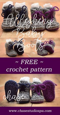 Allegheny Baby Boots Free Crochet Pattern Yarn Red Heart Baby Booties Newborn no sirve el link Crochet Baby Boots, Crochet Bebe, Newborn Crochet, Crochet Slippers, Crochet For Kids, Crochet Clothes, Free Crochet, Knit Crochet, Baby Slippers