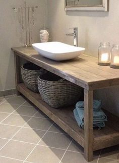 Bathroom Vanity / Vanity / Wood Vanity Custom made wood bathroom vanity. Color shown is Weathered Oa Diy Bathroom Vanity, Rustic Bathroom Vanities, Rustic Bathrooms, Wood Bathroom, Bathroom Furniture, Bathroom Interior, Modern Bathroom, Beautiful Bathrooms, Wooden Furniture
