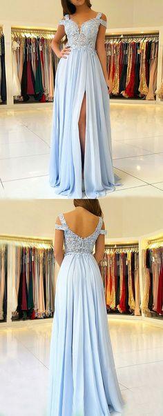 A-Line Straps Cold Shoulder Blue Chiffon Prom Dress with Appliques, modest blue cold shoulder long prom dresses, elegant chiffon evening dresses with pleats #coldshoulder #partydress