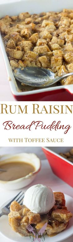 Bread pudding is an old Southern staple dessert made with soaked, eggy bread and dried fruits. Soaking raisins in rum extract gives this raisin bread pudding a fun flavor profile to enjoy with toffee sauce and a scoop of vanilla ice cream!