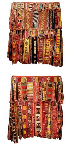 Africa | A Egungun Costume (front  back) from the Yoruba people. The word Egungun refers to masking associated with honored male lineage ancestors. Egungun masquerades are performed throughout Yorubaland but the costune styles are extremely diverse as a result of both regional preferences and the fertile imagination of artists and patrons. Many Egungun costumes consist entirely of costly and extravagantly embellished cloth while others include carved headdresses. | © Tim Hamill