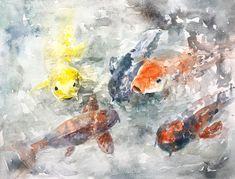 So Koi Watercolor Print, Watercolor Paper, Framed Prints, Canvas Prints, Art Prints, Love Photos, Koi, Decorative Throw Pillows, Wall Art
