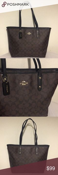 """NWOT Coach Purse NWOT Beautiful authentic Coach purse in new condition! This purse closes completely with a zipper and has no stains with extremely clean interior and exterior. Measurements are 11"""" x16"""" with a handle drop of 10.5"""", colors are brown and black, open to offers! Coach Bags Shoulder Bags"""