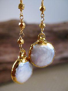 Coin Pearl Earring Long Dangle Gold Chain Earring Bridal Fashion.