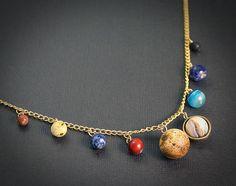 Gemstone Solar System Necklace Space-Jewelry.com