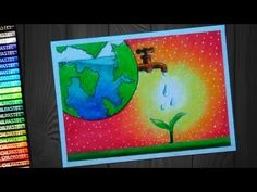 How To Draw Save Water Save Earth Poster - step by step - Yo Earth Drawings, Art Drawings For Kids, Art Drawings Sketches Simple, Drawing For Kids, Save Earth Posters, Poster On Save Water, Save Water Poster Drawing, Save Earth Drawing, Save Water Save Life