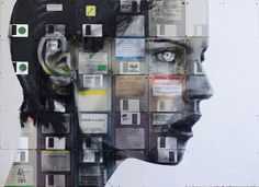 MIND GAMES 2012 Oil and used computer disks on wood 47cm x 63cm At SCOPE art fair with Robert Fontaine gallery