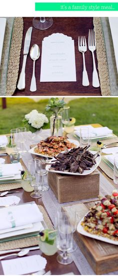 rustic wedding food: Family Style