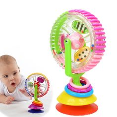 Baby Rattle Toys Colourful Happy Spiral Rotating Ferris Wheel Suckers Toy 0-12 Months Newborns Fun Educational Baby toys I031 #Affiliate