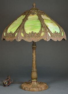 Green Slag Glass   Green art nouveau style Slag glass lamp