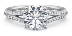Split Shank Diamond Engagement Ring with Round Brilliant cut center diamond