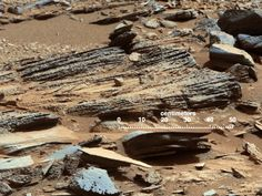 """Stream Flow Evidence This image from the Mast Camera (Mastcam) on NASA's Mars rover Curiosity shows inclined layering known as cross-bedding in an outcrop called """"Shaler"""" Credits: NASA/JPL-Caltech/MSSS Curiosity Rover, Curiosity Mars, Ice On Mars, Water On Mars, Sistema Solar, Sonda Curiosity, Different Types Of Rocks, Mars Science Laboratory, Travel"""