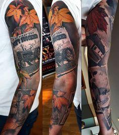 Farmer's Diary by @marcinsonski  at @skincitytattoodublin in Dublin Ireland. #farmer #farm #tractor #leaves #cow #barn #cattle #autumn #autumnleaves #photos #marcinsonski #skincitytattoodublin #dublin #ireland #tattoo #tattoos #tattoosnob