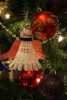 kerstengel van badmintonshuttle