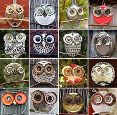 DIY Recycled Old Junk...turn them into Yard Art Owls!