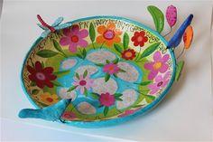 paper mache bowl Happy days in the garden 50 cm wide