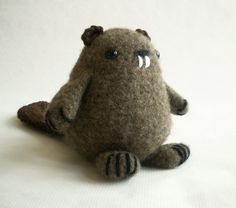 Beaver Felted Wool Plush Toy by MillieFern on Etsy