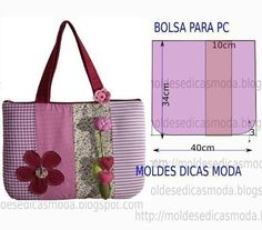 Not in English but the choice of fabrics and the floral embellishments make this tote super cute. Also the photos in the tutorial are enough to give someone with tote bag sewing experience an idea of how to construct this cute bag. Free tutorial or Diy Bags Patterns, Diy Clutch, Patchwork Bags, Types Of Bag, Fabric Bags, Little Bag, Handmade Bags, Bag Making, Purses And Bags