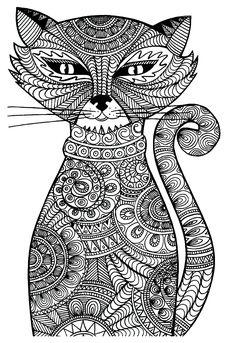 Galerie de coloriages gratuits coloriage-adulte-animaux-chat-malicieux. Un étrange et malicieux chat