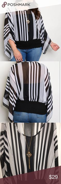 Sheer striped top Black and white stripes. Round neckline.  Elastic bottom. Detachable costume jewelry included.  Colors may vary slightly to lighting and photos. No holes, rips or stains. Measurements approximately as shown. ❌Smoke and pet free home. ⚡️Same/next day shipping. 💲Save by bundling or make a reasonable offer through the offer button. 🚫No trades or modeling. 📦Wrapped and shipped with care. 🎁Includes free gift. Tops Blouses