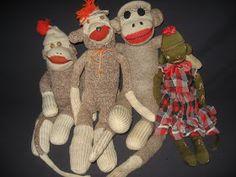 Antique Teddy Bear Crossing: VINTAGE SOCK MONKIES