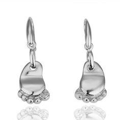 18K White Gold Plated Cute Foot Dangle Earrings