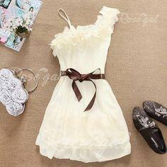 Stylish and Delicate Sweety Ruffles One-Shoulder Chiffon Dress
