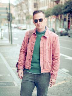 Pink Jacket Green Sweatshirt