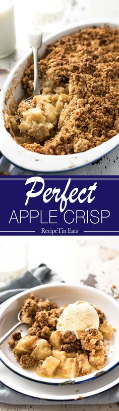 The BEST Apple Crumble (Apple Crisp) - Juicy apple filing with a gorgeous CRUNCHY crumbly topping. So easy to make! www.recipetineats.com
