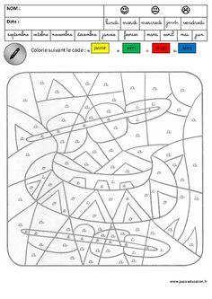 Coloriage Magique Jours De La Semaine Cp Ecosia