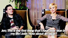 When Josh playfully teased Jennifer about being an Oscar winner: | 27 Times Jennifer Lawrence and Josh Hutcherson Proved They Have The Best Offscreen Relationship Ever