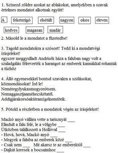 GYAKORLÓ FELADATOK A MONDATFAJTÁKHOZ 2. OSZTÁLY - tanitoikincseim.lapunk.hu Minden, Education, Onderwijs, Learning