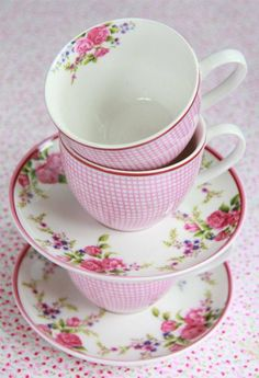 Pink gingham and floral tea cups and saucers