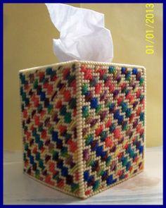 Red Blue Green Yellow Orange Handmade Plastic Canvas Tissue Box Cover Topper | eBay