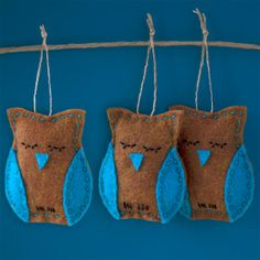CYBER MONDAY DEAL 20% OFF!  Set of 3 Mini Owl Ornaments  Brown and Teal by Fishtitch on Etsy, $18.00