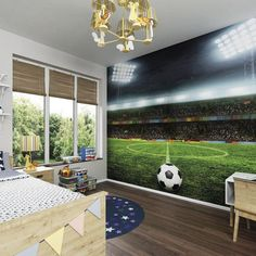 Photo Wallpaper Wall Mural for Childrens Bedroom, Boys or Girls Room Decor - Free Kick by PurpleEyeDesign on Etsy Boys Football Bedroom, Soccer Bedroom, Football Rooms, Football Pitch, Bedroom Boys, Boys Bedroom Ideas 8 Year Old, Wall Murals Bedroom, Bedroom Themes, Bedroom Decor