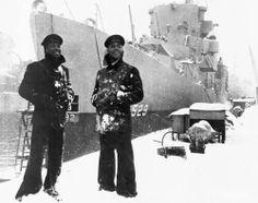 USS Mason in 1944... Navymen in winter cracker jack uniforms.