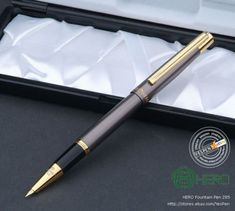 Weights: approx 20g for pen 130g with box Size:  13.5cm in length capped 1.0cm in widest diameter   Features  Extra Fine nib size 0.4 with hooded style ideal for accounting pen smooth writing  Matte-glossy gary lacquered finish Gold trims and ring be delicately made  A standard ink converter included with piston style.
