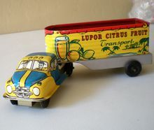 Vintage Tin Lithograph  Friction Motor Truck & Trailer Lupor USA